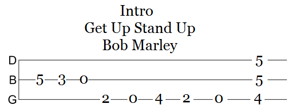 tablature intro get up stand up